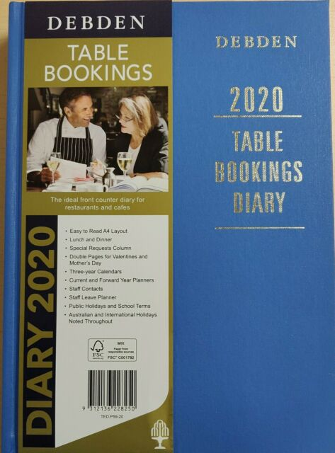 DIARY 2020 COLLINS DEBDEN A4 TABLE BOOKING 2DTP BLUE