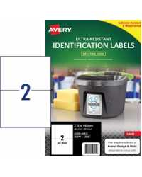LABEL AVERY 210X148MM ULTRA-RESISTANT OUTDOOR 2UP PK10