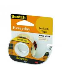 TAPE INVISIBLE EVERYDAY SCOTCH 501 12MMX25M ON DISPENSER H/SELL