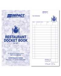 RESTAURANT DOCKET BOOK IMPACT 83x165MM DUPLICATE RD301