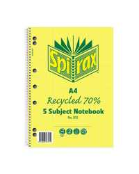 NOTE BOOK SPIRAX 815 RECYCLED A4 5 SUBJECT 250PG PK5