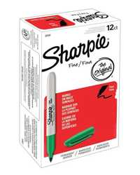 MARKER SHARPIE FINE 1.0MM GREEN BX12