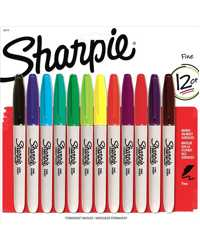 MARKER SHARPIE PERMANENT ASSORTED FINE PONIT CARD PK12