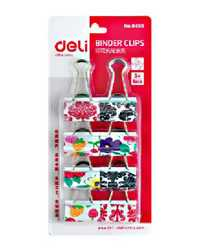 FOLDBACK CLIPS DELI 32MM CLOURED FRUITS ETC HANGSELL PK12