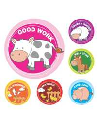 STICKER MERIT AVERY FARM ANIMALS H/S PK96