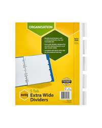 DIVIDERS MARBIG A4 MANILLA EXTRA WIDE DVDRS 5 TAB WHITE  PKT