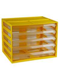 DOCUMENT CABINET ITALPLAST A4 5 DRAWER FRUIT BANANA/CLEAR