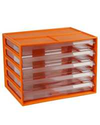 DOCUMENT CABINET ITALPLAST A4 5 DRAWER FRUIT MANDARIN/CLEAR