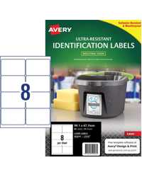 LABEL AVERY 99.1X67.7MM ULTRA-RESISTANT OUTDOOR 8UP PK10