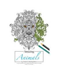 BOOK COLOURING ADULT AMAZING ANIMALS A4 180GSM 12 PAGES