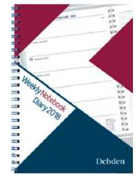 DIARY 2018 DEBDEN WEEKLY NOTEBOOK A5 WEEK TO A PAGE RED/BLUE