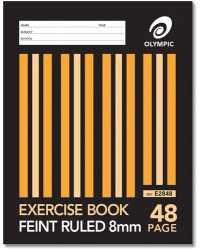 EXERCISE BOOK OLYMPIC 225X175MM 8MM RULED 48PG PK20
