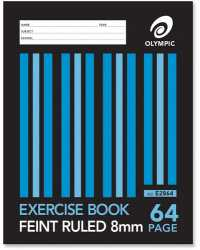 EXERCISE BOOK OLYMPIC 25X175MM 8MM RULED 64PG PK20