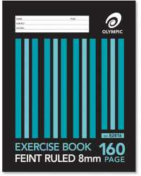 EXERCISE BOOK OLYMPIC 225X175MM 8MM FEINT RULED SEWN 160PG PK10