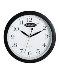 CLOCK CARVEN 30CM ROUND BLACK