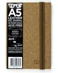 VISUAL ART DIARY GEEK A5 LEATHER CORK BROWN 80GSM 96PG