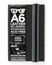 VISUAL ART DIARY GEEK A6 LEATHER SLATE GREY 80GSM 96PG