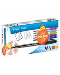 PEN PAPERMATE INKJOY 100ST 2IN1 STYLUS 1.0MM ASST COLOURS BX12