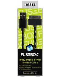 CABLE CHARGE & SYNC TO SUIT APPLE 30-PIN FUSEBOX 1.8M BRAIDED BL