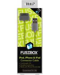CABLE CHARGE & SYNC TO SUIT APPLE 30-PIN FUSEBOX 1.2M BLACK H/SE