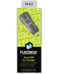CAR CHARGER USB FUSEBOX DUAL PORT 1AMP/2.1AMP BLACK H/SELL