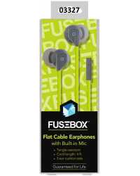 EARPHONES WITH MIC FUSEBOX 1.2M FLAT CABLE H/SELL