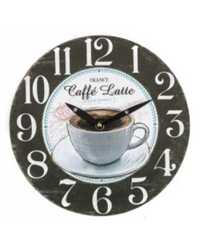 WALL CLOCK CASA UNO 34CM COFFEE LATTE BLACK & WHITE