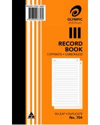 "RECORD BOOK OLYMPIC 704 DUP C/LESS 8""X5"" PK10"