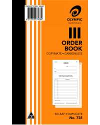 "ORDER BOOK OLYMPIC 738 DUP C/LESS 8""X5"" PK10"