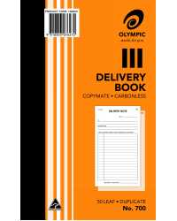 "DELIVERY BOOK OLYMPIC 700 DUP C/LESS 8""X5"" 50LF PK10"