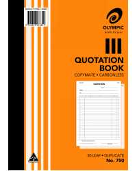 QUOTE BOOK OLYMPIC 750 DUP C/LESS A4 PK5