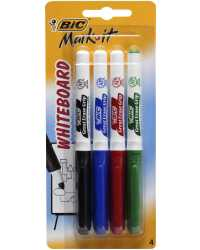 MARKER W/B BIC MARK-IT BULLET PACK 4 COLOURS H/SELL
