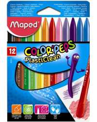 CRAYON PLASTICLEAN MAPED COLOR\'PEPS 12\'S