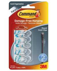 HOOKS COMMAND CORD/CABLE CLIPS SELF ADHESIVE 17017CLR PK4