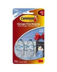 CLEAR HOOKS COMMAND SMALL ADHESIVE 17092CLR