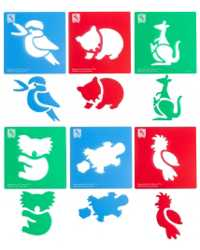 STENCIL EC AUSTRALIAN ANIMALS 190X190MM