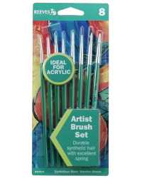PAINT BRUSH REEVES ACRYLIC GREEN HANDLE SET 8