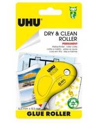 GLUE UHU DRY & CLEAN ROLLER PERM 6.5MM X 8.5M BX6