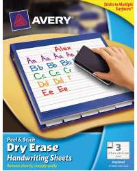 HANDWRITING SHEETS AVERY PREPRINTED 3'S RECTANGLE 216X279MM