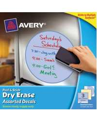 DECALS AVERY PEEL & STICK DRY ERASE 254X254MM 3 ASST SHAPES
