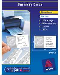 BUSINESS CARDS AVERY A4 LASER L7414 WHITE 10UP 959025 PK20