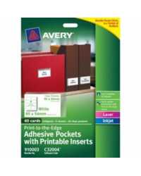 LABEL AVERY ADHESIVE POCKETS W/PRINTABLE INSERTS 5 SHEETS 8UP