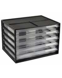 DOCUMENT CABINET ITALPLAST A4 5 DRAWER BLACK/CLEAR