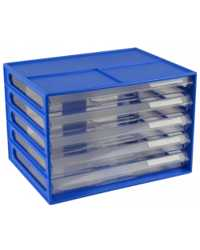 DOCUMENT CABINET ITALPLAST A4 5 DRAWER BLUEBERRY/CLEAR