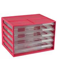DOCUMENT CABINET ITALPLAST A4 5 DRAWER WATERMELON/CLEAR