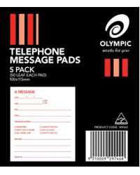 TELEPHONE MESSAGE PAD OLYMPIC 100X115 WHITE 50LF PK5