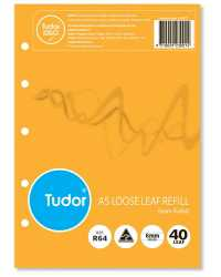 BINDER REFILL TUDOR A5 6MM RULED PK40