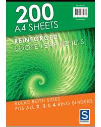 LOOSE LEAF REINFORCED REFILLS SOVEREIGN A4 RULED PK200