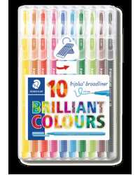 PEN STAEDTLER 0.8MM TRIPLUS BROADLINER BRILLIANT COLOURS PK10