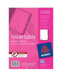 DIVIDERS AVERY A4 MANILLA 5 INSERTABLE COLOURED TABS